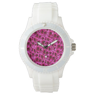 Magenta Geranium Flower White Sports Watch