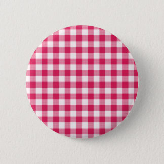 Magenta Gingham 6 Cm Round Badge