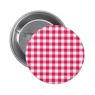 Magenta Gingham 6 Cm Round Badge