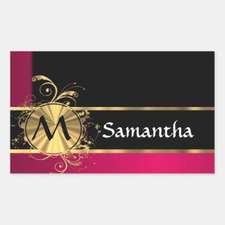 Magenta gold and black monogram rectangular sticker
