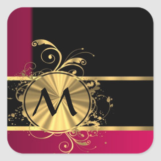 Magenta gold and black monogram square sticker