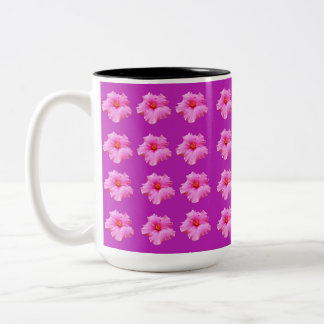 Magenta Hibiscus Kisses, Two Tone Coffee  Mug. Two-Tone Coffee Mug