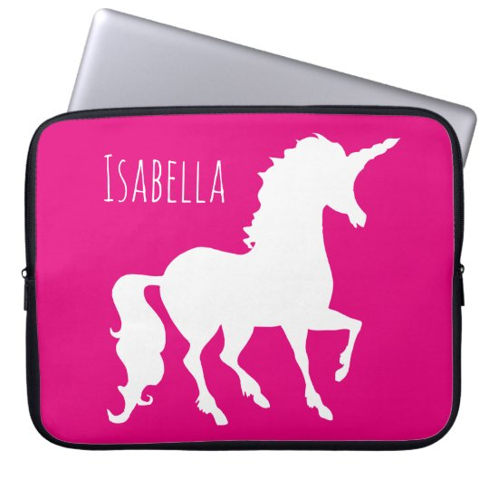 Magenta Hot Pink Unicorn Silhouette Personalised Laptop Sleeve