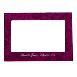 Magenta indian damask magnetic photo frame