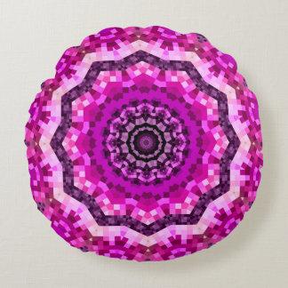 Magenta Kaleidoscopic Round Pillow