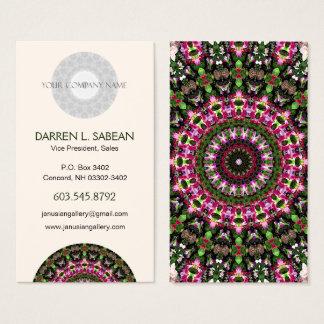 Magenta & Leaf Green Mandala Art Kaleidoscope Business Card
