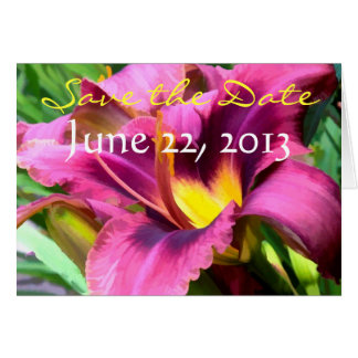 Magenta Lily Save the Date Cards
