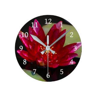 Magenta Lotus Waterlily Round Clock