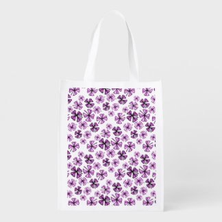 Magenta Lucky Shamrock Clover Reusable Grocery Bag