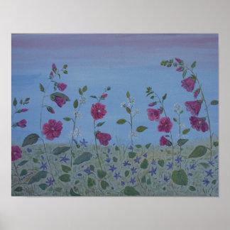 Magenta Mallow Modern Flower art Poster