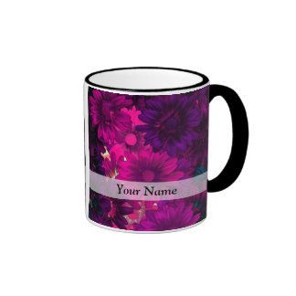 Magenta modern floral coffee mug