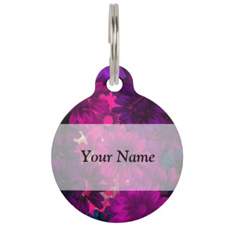 Magenta modern floral pet ID tag