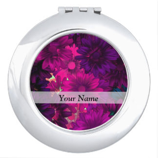 Magenta modern floral compact mirror
