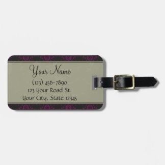 Magenta on Black Damask with Stripes and Monogram Luggage Tag