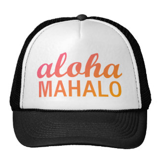 Magenta Orange Gradient Aloha Mahalo Typography Cap