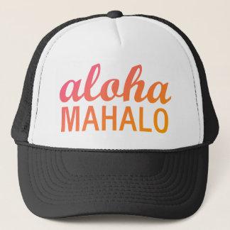 Magenta Orange Gradient Aloha Mahalo Typography Trucker Hat