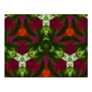 Magenta Peach Green Kaleidoscope Pattern Postcard