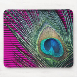 Magenta Peacock with Lines Mouse Pad