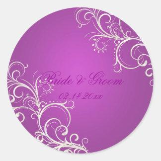 Magenta pearl swirls wedding stickers