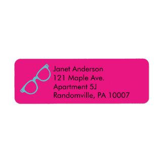 Magenta Pink and Bright Blue Retro Glasses Return Address Label