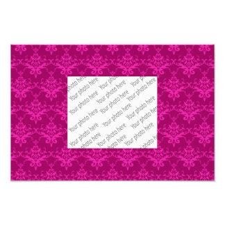 Magenta pink damask pattern art photo