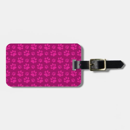 Magenta pink dog paw prints luggage tag