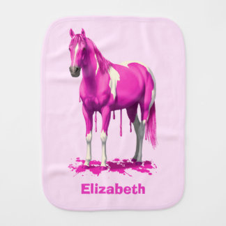 Magenta Pink Dripping Wet Paint Horse Baby Burp Cloth