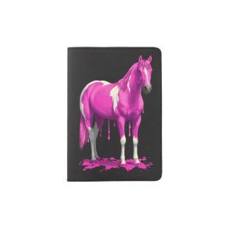 Magenta Pink Dripping Wet Paint Horse Passport Holder