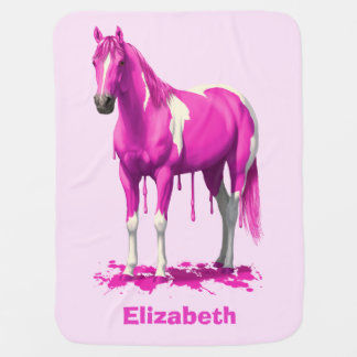 Magenta Pink Dripping Wet Paint Horse Receiving Blanket