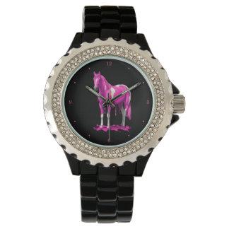 Magenta Pink Dripping Wet Paint Horse Watch