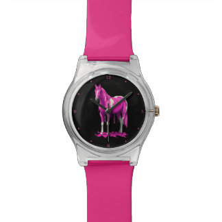 Magenta Pink Dripping Wet Paint Horse Watches