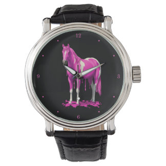 Magenta Pink Dripping Wet Paint Horse Wrist Watches