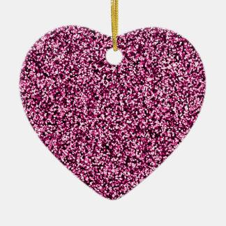 Magenta Pink Faux Glitter Ceramic Heart Decoration