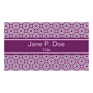 Magenta-Pink-Gray Nested Octagon Business Card