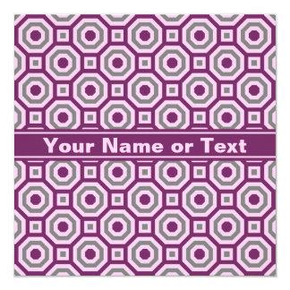 Magenta-Pink-Gray Nested Octagon Invitation