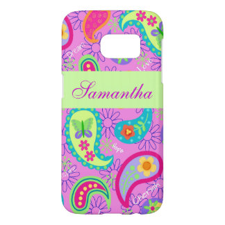 Magenta Pink Green Mod Paisley Name Personalized