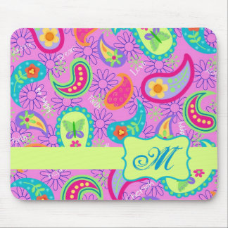 Magenta Pink Green Modern Paisley Pattern Mouse Pad