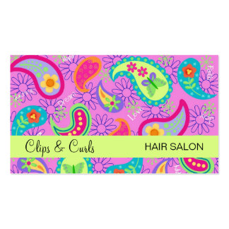 Magenta Pink Lime Green Modern Paisley Pattern Pack Of Standard Business Cards