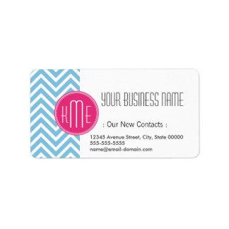 Magenta Pink Monogram with Light Blue Chevron Address Label