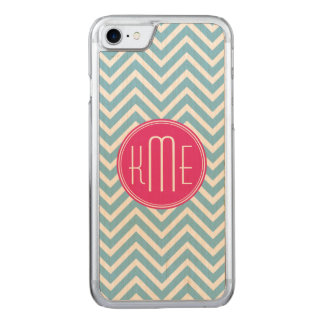 Magenta Pink Monogram with Light Blue Chevron Carved iPhone 8/7 Case