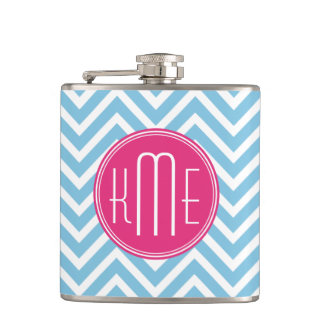 Magenta Pink Monogram with Light Blue Chevron Flask