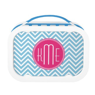 Magenta Pink Monogram with Light Blue Chevron