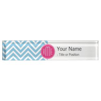 Magenta Pink Monogram with Light Blue Chevron Name Plate