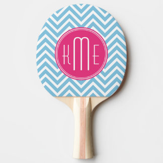 Magenta Pink Monogram with Light Blue Chevron Ping Pong Paddle