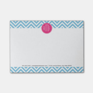 Magenta Pink Monogram with Light Blue Chevron Post-it Notes