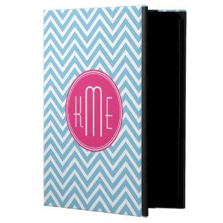 Magenta Pink Monogram with Light Blue Chevron Powis iPad Air 2 Case