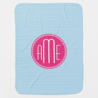 Magenta Pink Monogram with Light Blue Chevron Swaddle Blankets