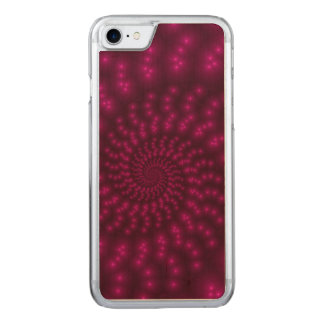 Magenta Pink Spiral FractaliPhone 6 Slim Wood Carved iPhone 8/7 Case