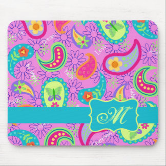 Magenta Pink Turquoise Modern Paisley Monogram Mouse Pad