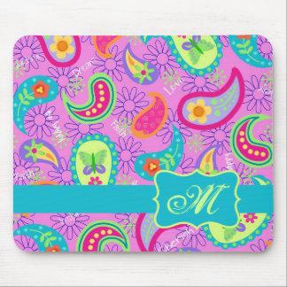 Magenta Pink Turquoise Modern Paisley Monogram Mousepad